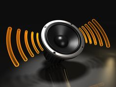 Sound waves from the speaker create the sense of the speaker being a hub. Like the contrast of orange against black