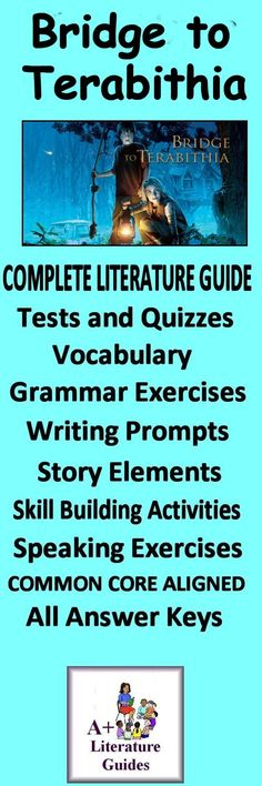This is a 120 page complete literature guide for the novel, The Bridge to Terabithia by Katherine Paterson. It has everything a teacher needs to teach and assess this novel.