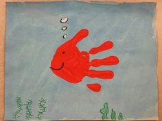 Miss Young's Art Room: Kindergarten Hand-Print Fish Finger Paint Art, Finger Art, Finger Painting, Preschool Colors, Preschool Art, Daycare Crafts, Toddler Crafts, Painting For Kids, Art For Kids