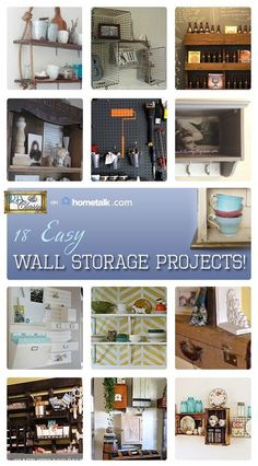 DIY:: 18 Easy Wall Storage Ideas ! ( With Tutorials for each )