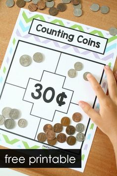 Counting Coins Money Games Free Printable Money Game for Kids-Counting Sets of Coins Money Games Free, Money Games For Kids, Math Games For Kids, Abc Games, Cool Math Games, Kids Educational Games, Kids Math, Free Games, Learning Money
