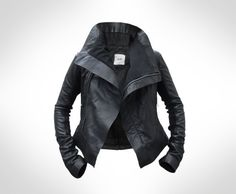 Black Leather Jacket - awesome collar! 195 euro