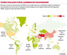 Espionaje de #EEUU: ¿Qué países han sido vigilados por gobierno estadounidense? La Agencia Nacional de Seguridad realizó espionaje a 13 países de la región. Entre ellos están Argentina, México, Colombia y Ecuador.