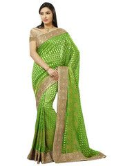 Green Color Banarsi Upada Festival & Function Wear Sarees : Tarjani Collection  YF-41467