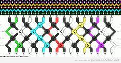 Patrón para hacer una pulsera de hilo zigzag y puntos