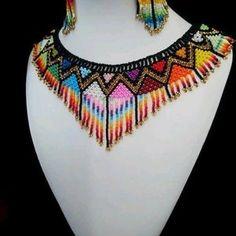 Beaded Choker Necklace, Fringe Necklace, Seed Bead Necklace, Tribal Necklace, Seed Bead Jewelry, Black Necklace, Collar Necklace, Beaded Jewelry, Beaded Bracelets