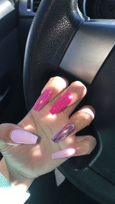 Best Acrylic Nails Part 5 Pink Chrome Nails, Pink Acrylic Nails, Acrylic Nail Designs, Pink Acrylics, Neon Pink Nails, Aycrlic Nails, Hair And Nails, Coffin Nails, Pink Coffin
