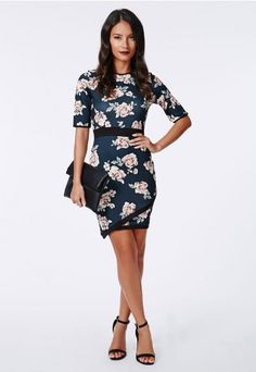 0f63ca2d94 Ailish Contrast Binding Asymmetric Bodycon Dress Floral - Dresses - Bodycon  Dresses - Missguided
