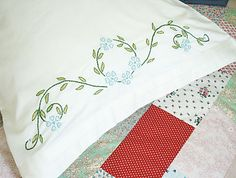 Inspiration: Hand-Embroidered Pillowcases on Jenna Lou Loves You