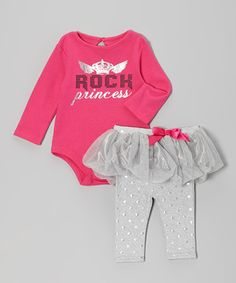 Look at this #zulilyfind! Baby Glam Pink & Gray 'Rock Princess' Bodysuit & Skirted Leggings - Infant by Baby Glam #zulilyfinds