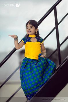 13 Handpicked Pattu Pavadai Designs To Dress Up Your Princesses Frocks For Girls, Dresses Kids Girl, Kids Outfits, Baby Dresses, Flower Dresses, Kids Dress Wear, Kids Gown, Kids Wear, Kids Frocks Design