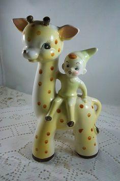 Vintage Figurine Vase Elf Pixie Riding on Polka Dot Giraffe Vintage Pottery, Vintage Ceramic, Vintage Planters, Ceramic Planters, Vintage Colors, Vintage Items, Ice Cream Museum, Giraffe Head, Vintage Fairies