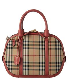 BURBERRY Burberry Orchard Small Horseferry Check &Amp; Leather Bowler'. #burberry #bags #shoulder bags #hand bags #canvas #leather #lining #
