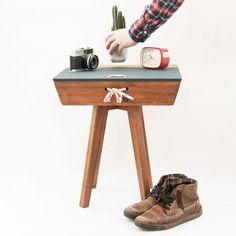 Vintage rustic walnut side table – CROWDYHOUSE