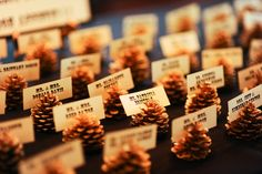 Gold pinecone escort holders- spray paint pinecones gold. These would also be cute at each guest's place setting at a Christmas table.