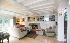 White and wood living room