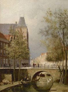 Cornelis Christiaan Dommelshuizen (Utrecht 1842-1928 Den Haag) View of the Oudegracht with Oudaen, Utrecht - Dutch Art Gallery Simonis and Buunk Ede, Netherlands.