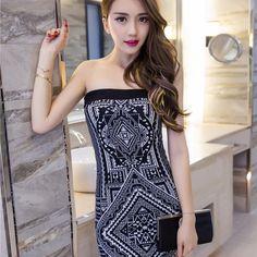 $24.23 Individual Printing Strapless Knit Night Sheath Dress