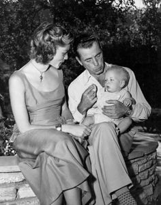 Humphrey Bogart with wife Lauren Bacall and son Stephen