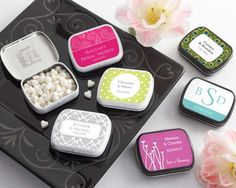 When was the last time you had 165 choices for anything? With all of Kate Aspen's spectacular custom label designs, you'll have no problem coordinating our celebrated mint tins with your event theme and color scheme. Showcase the new monogram at your wedding reception. Choose something adorable in blue for the baby shower. Dazzle guests at your dinner parties. Special creations for all occasions! Features and facts:Personalized tins filled with white heart-shaped peppermints Tins measure 2…
