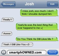 - Relationships - Feb 2011 - Autocorrect Fails and Funny Text Messages - SmartphOWNED Aww I love this! Funny Shit, Funny Texts Jokes, Text Jokes, Funny Relatable Memes, Drunk Texts, Funny Fails, Funny Stuff, Hilarious, Sweet Text Messages