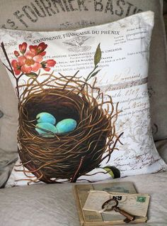 """18"""" French Nest Cotton Pillow Cover (c318)"""