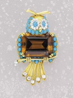 A Diamond Turquoise and Citrine Clip CARTIER circa 1955 - PBA