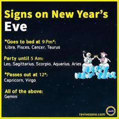zodiac signs on new year's eve, aries, taurus, gemini, cancer, leo, virgo, libra, scorpio, sagittarius, capricorn, aquarius, pisces