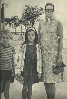 Princess Caroline and Prince Albert with their mother Princess Grace of Monaco.