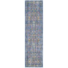 Safavieh Valencia Blue/ Multi Distressed Silky Polyester Rug (2'3 x 12')