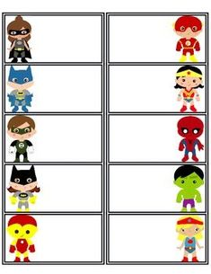 There are 11 pages of superhero name tags. These are great to use at the beginning of the year, field trips, or whenever you need a label. I've made them so that they are printable onto Avery 8663 labels.: