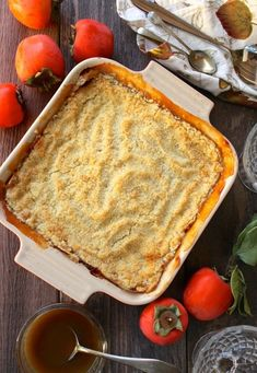 Persimmon apple crumble with rum sauce is a quick and easy dessert that will convert the most avid persimmon haters, it's THAT good! Persimmon Cookies, Persimmon Recipes, Apple Recipes, Baking Recipes, Free Recipes, Healthy Recipes, Easy Desserts, Delicious Desserts, Dessert Recipes