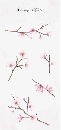 Cherry Blossom Drawing, Cherry Blossom Watercolor, Cherry Blossom Flowers, Blossom Trees, Cherry Blossom Branches, Free Watercolor Flowers, Watercolour, Painted Bricks Crafts, Tree Branch Tattoo