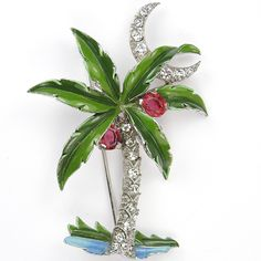 Trifari 'Alfred Philippe' Pave Enamel and Ruby Coconuts Palm Tree and Moon Pin