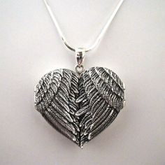 FashionJunkie4Life - Big Angel Wing Locket Necklace Sterling Silver