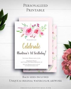 Girl First Birthday Invitation with unique and adorable watercolor floral design in vintage style by Amistyle Art Studio on Etsy Watercolor Artwork, Floral Watercolor, First Birthday Invitations, Girl First Birthday, Vintage Style, Vintage Items, Printable Invitations, First Birthdays, Floral Design