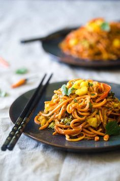 """<p>This curry is packed with veggies and covered in a delicious vegan curry sauce making it perfect for Meatless Monday!</p> <p><a href=""""http://www.foodfaithfitness.com/vegan-coconut-curry-with-sweet-potato-noodles/"""" target=""""_blank"""">Get the recipe HERE.</a></p>"""
