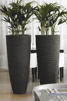 Natuurlijke bloempotten, schalen en vazen in natuurlijke materialen. Voor kantoor, receptie, hotel, restaurant of project. Houten bloempotten, polystone.