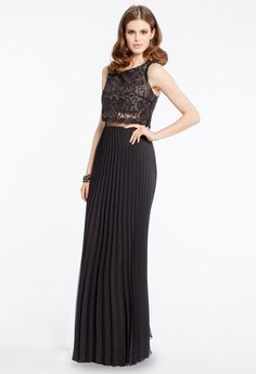 TWO-TONED LACE POPOVER DRESS #lace #blackdress #twotone #longdress #eveningdress #camillelavie #groupusa