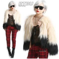 Two Tone Ivory Contrasting Black Shaggy Faux Fur Gorilla Cropped Jacket