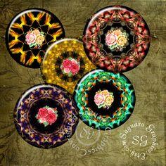 Roses Kaleidoscope Art  Digital Collage Sheets by SaguaroGraphics, $4.50
