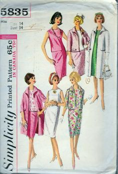 """Vintage 1964 Simplicity 5835 One-Piece Dress Or Blouse, Skirt and Coat Or Jacket Sewing Pattern Size 14 Bust 34"""" by Recycledelic1 on Etsy"""