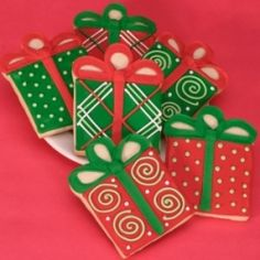 Christmas present cookies - perfect for a cookie swap (shortbread or sugar are the prefect 'canvas')