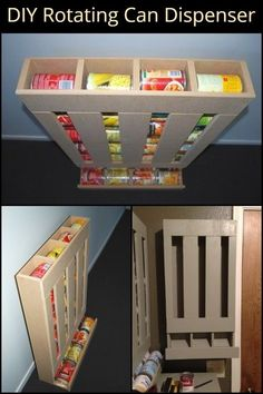 DIY Rotating Can Dispenser - You can personalize this rotating can dispenser to fit in the space available in your home. Can Storage, Diy Kitchen Storage, Pantry Storage, Pantry Organization, Homemade Furniture, Diy Furniture, Furniture Projects, Wood Projects, Woodworking Projects