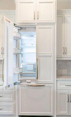 White French Door Refrigerator, Refrigerator Panels, Built In Refrigerator, Inside Kitchen Cabinets, Kitchen Cabinet Styles, Kitchen Interior, Kitchen Design, Kitchen Ideas, Small Condo Decorating
