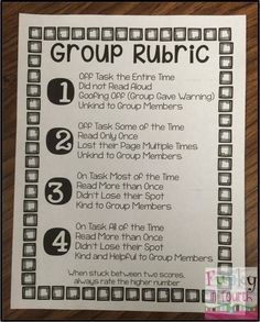 Funky in Fourth: Holding Students Accountable During Reading Groups- -a group rubric