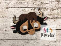 Ferdinand Inspiired Mask, Ferdinand, mask, Ferdinand mask, birthday, Ferdinand movie, bull mask, animal mask, felt mask, dress up, pretend by 805Masks on Etsy