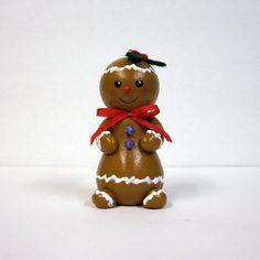 Christmas Gingerbread Girl Wood Ornament