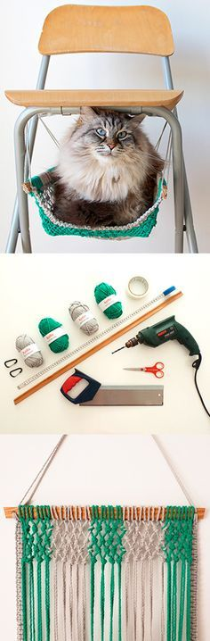 ♥ DIY Cat Stuff ♥  DIY Macrame cat hammock
