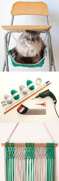 ♥ DIY Cat Stuff ♥ DIY Macrame cat hammock
